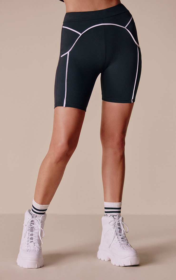 Black Contrast Cycle Shorts 2