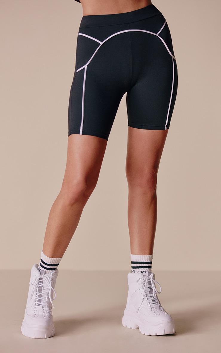 Black Contrast Bike Shorts 2