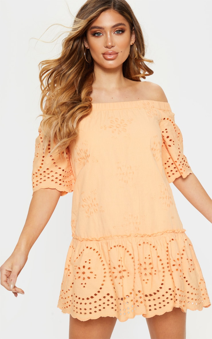 Peach Broiderie Anglaise Bardot Shift Dress 4