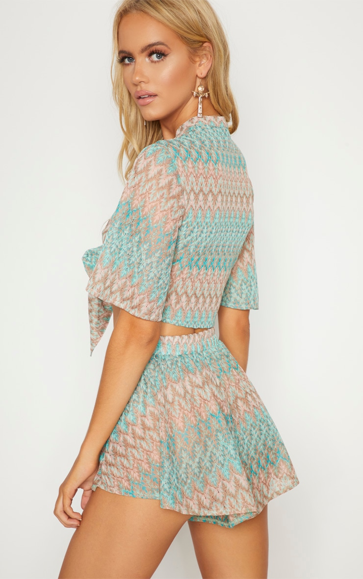 Mint Green Chevron Tie Front Short Sleeve Crop Top 2