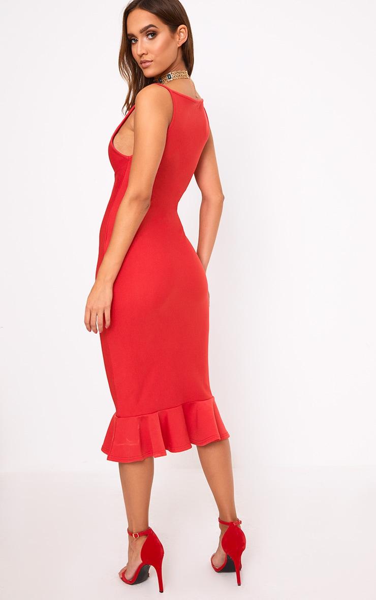 Freada Red Square Neck Frill Hem Midi Dress 2