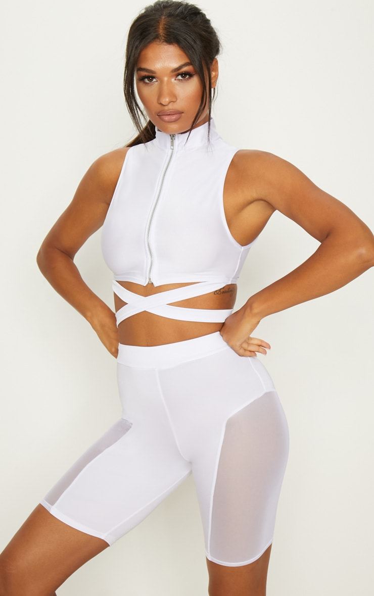 White Mesh Side Panel Cycling Shorts