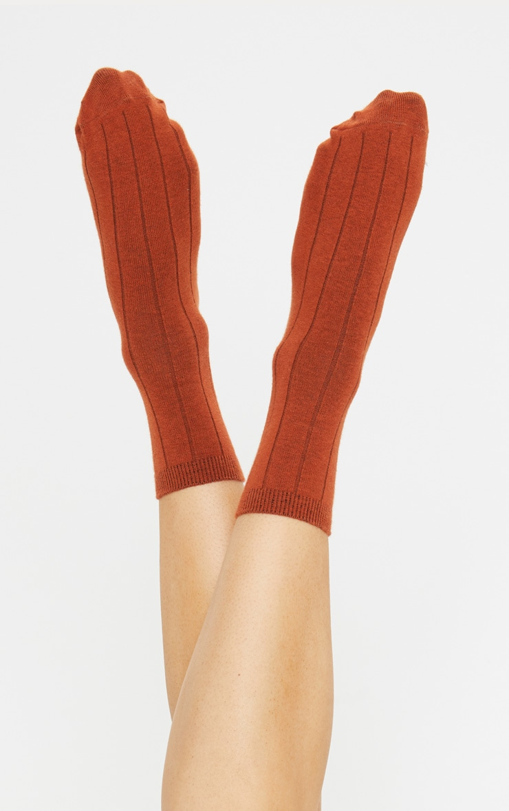 Rust Ribbed Ankle Socks 1