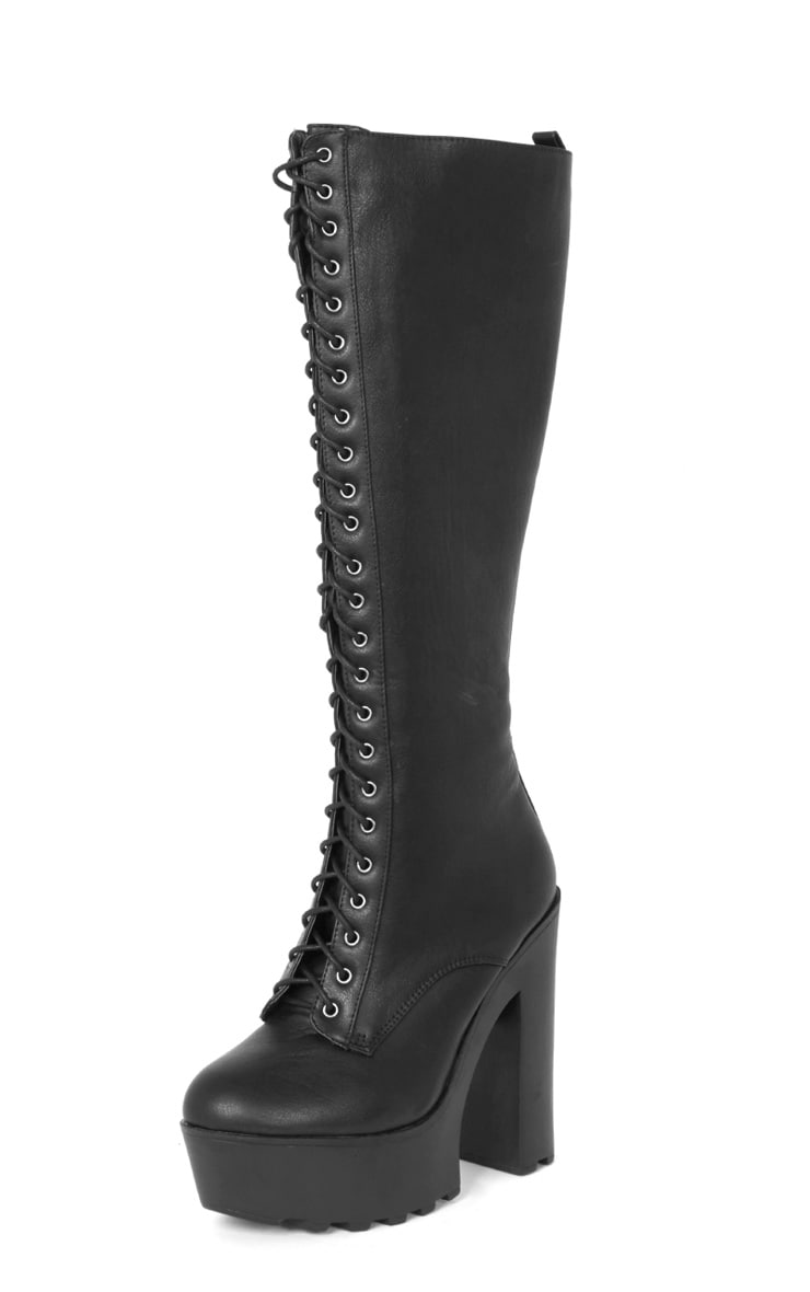 Glenys Black Lace Up Cleated Platform Boot  3