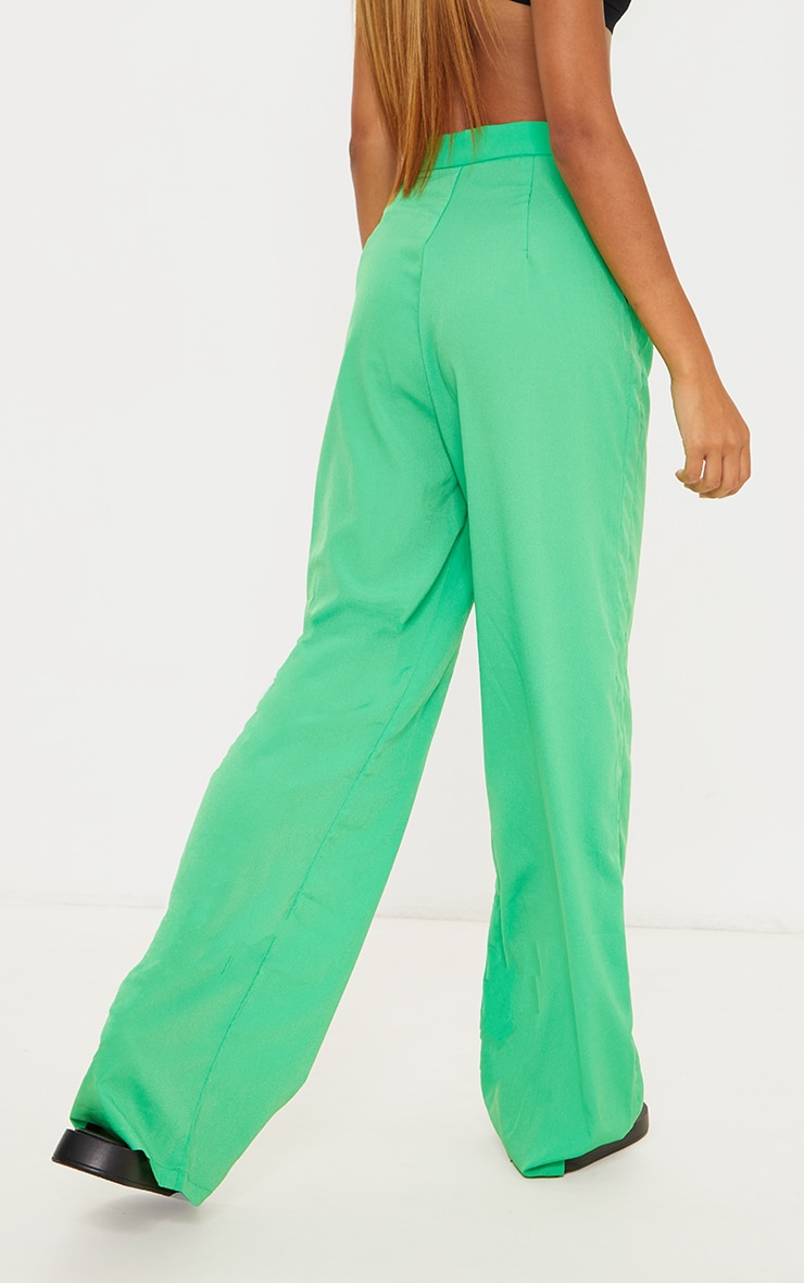 Bright Green Wide Leg Trousers 3