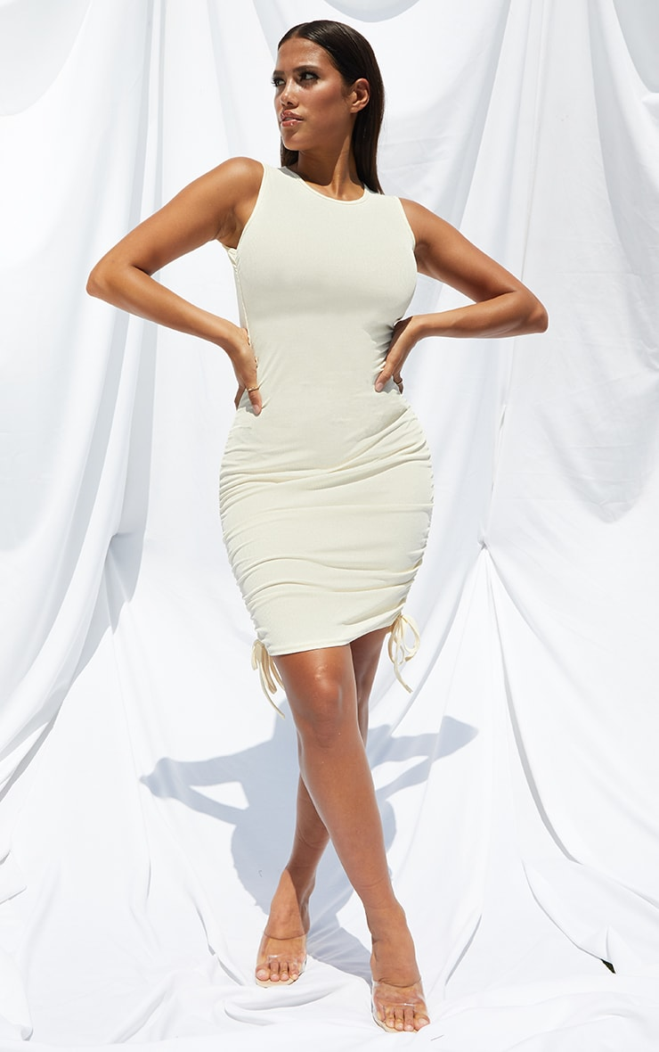 Shape Cream Rib Ruched Side Sleeveless Bodycon Dress 1