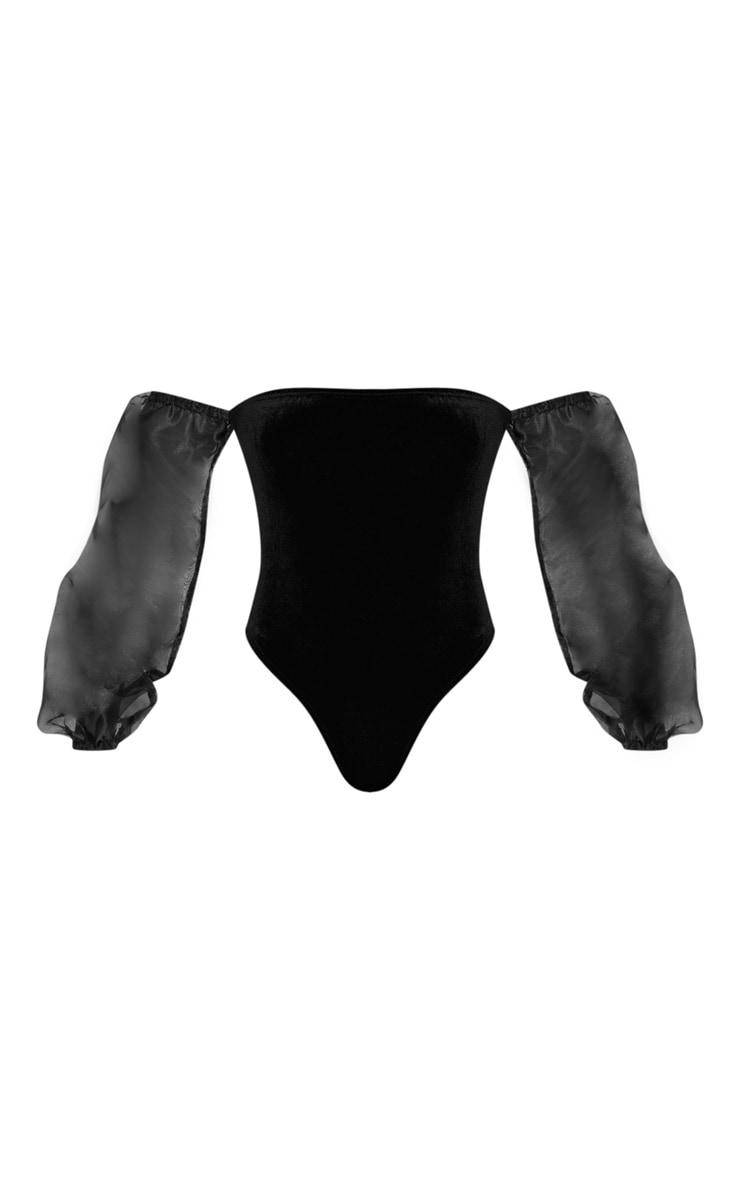Black Velvet Sheer Puff Sleeve Bardot Bodysuit 3
