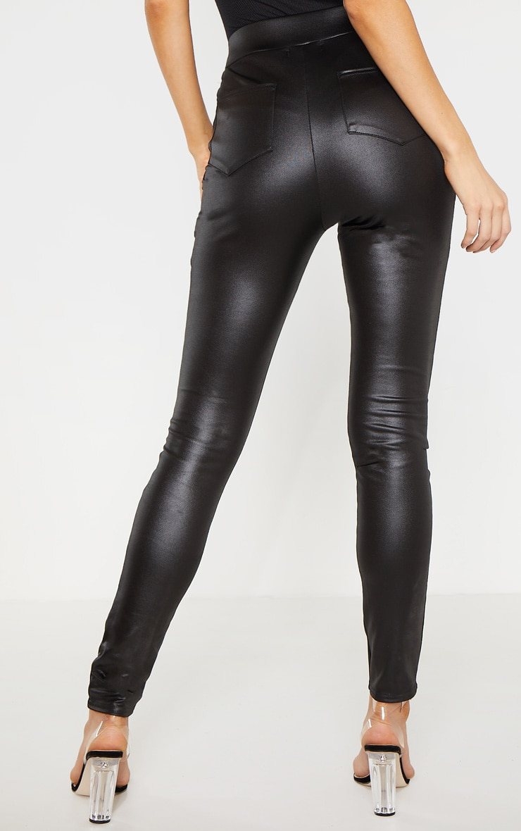 Tall Black Wet Look Skinny Trouser 4
