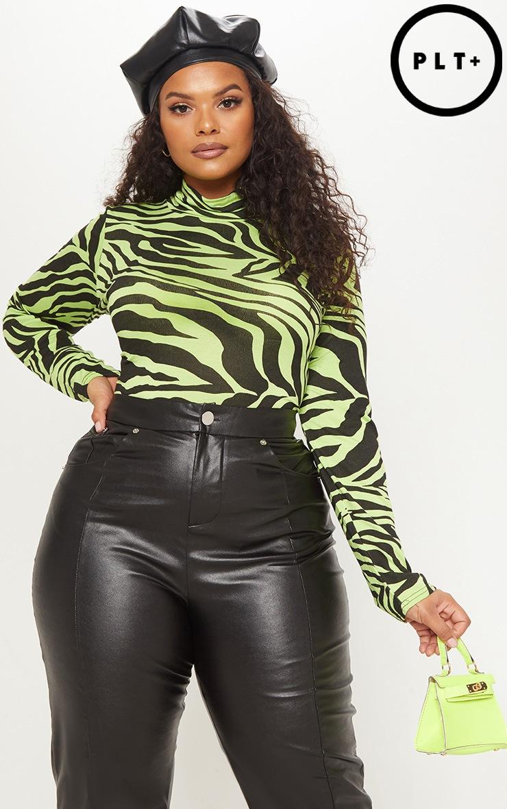 Plus Neon Green Zebra Printed High Neck Top