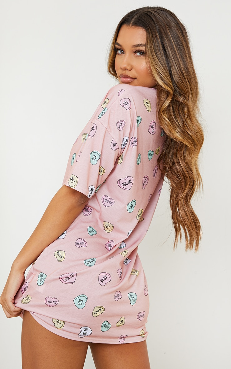 Peach Loveheart Print Oversized Nightie 2