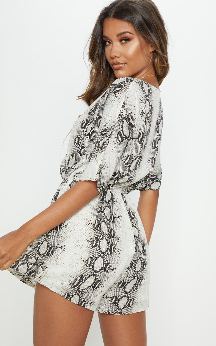 Grey Snake Print Wrap Front Playsuit 2