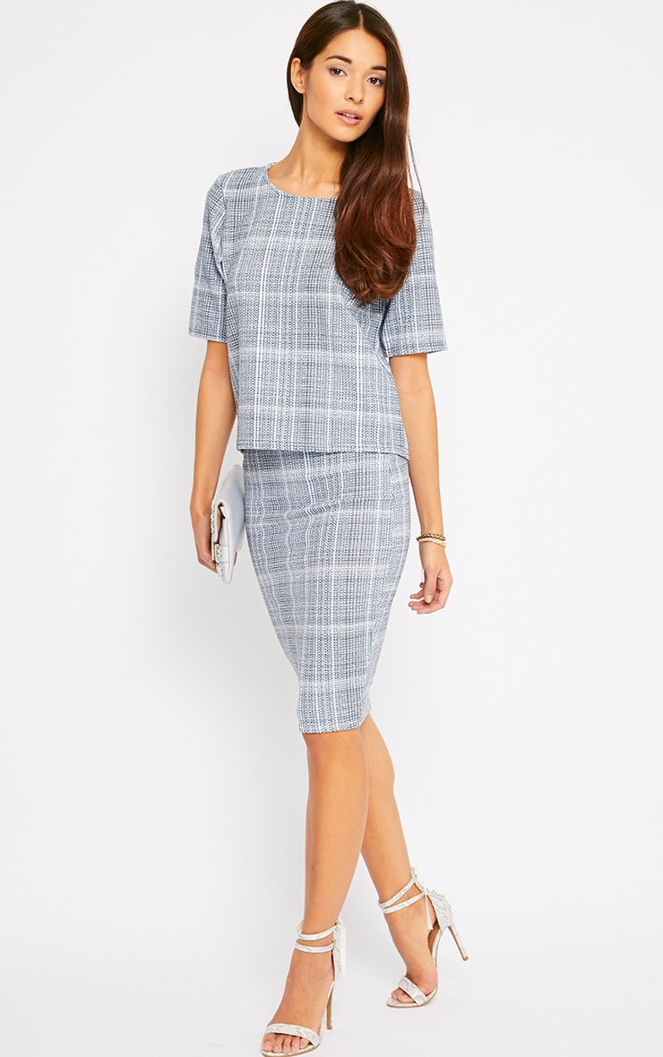 Cleo Blue Checked Midi Skirt 1