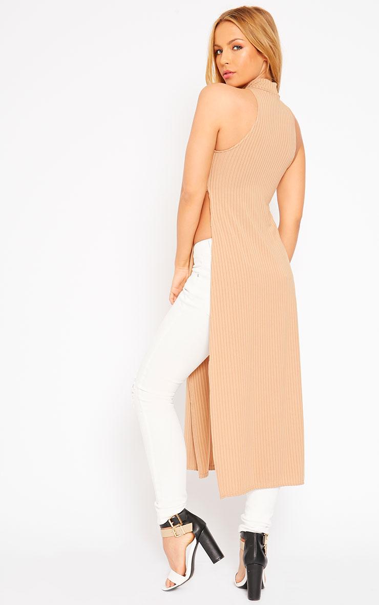 Aaralyn Camel Ribbed Side Split Dress 4