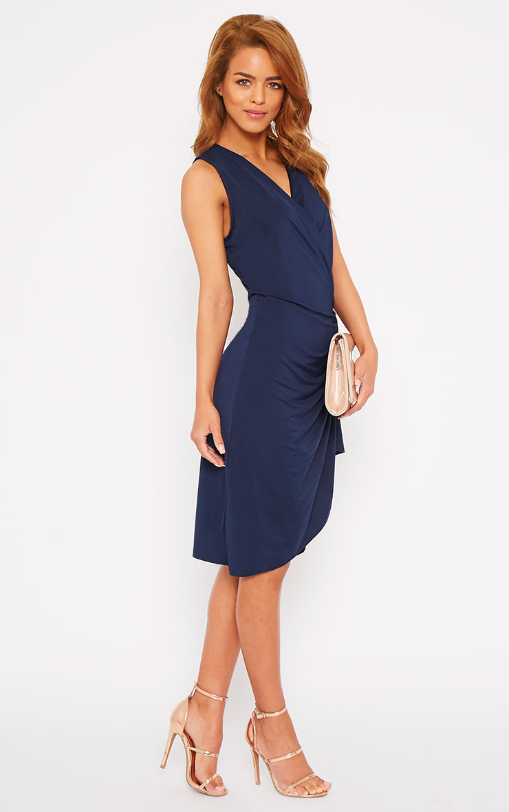 Clarissa Navy Wrap Front Midi Dress 7