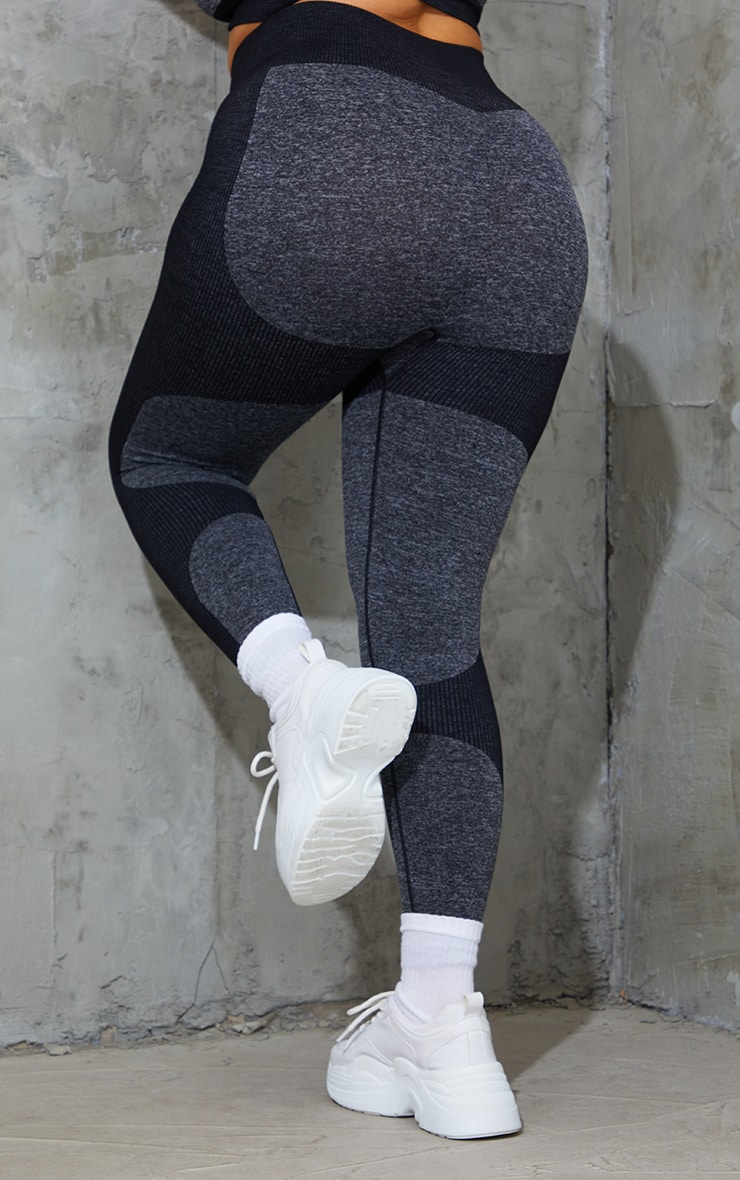 Plus Black Seamless 2 Tone Contour Leggings 3