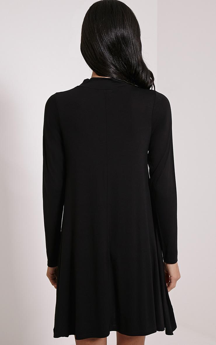 Basic Black Long Sleeved Jersey Swing Dress 2