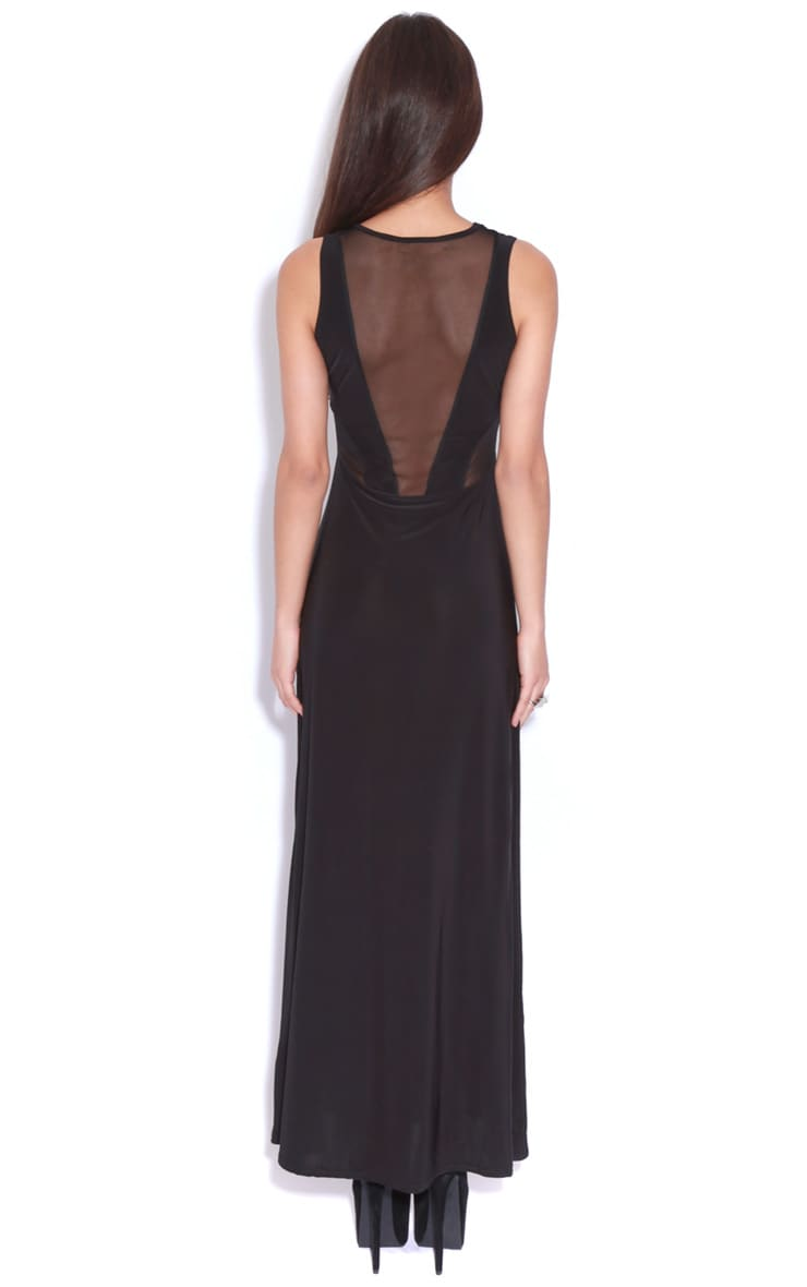 Laila Black Mesh Maxi Dress  2