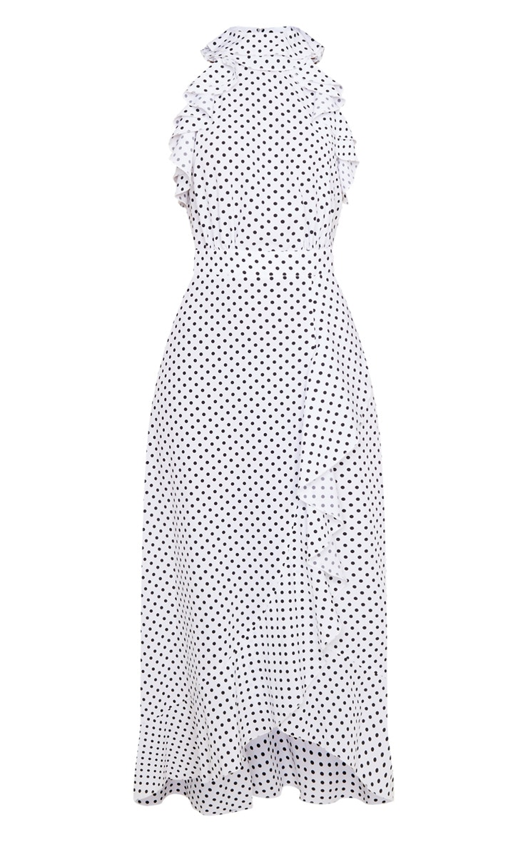 White Polka Dot Frill Detail Wrap Maxi Dress 5