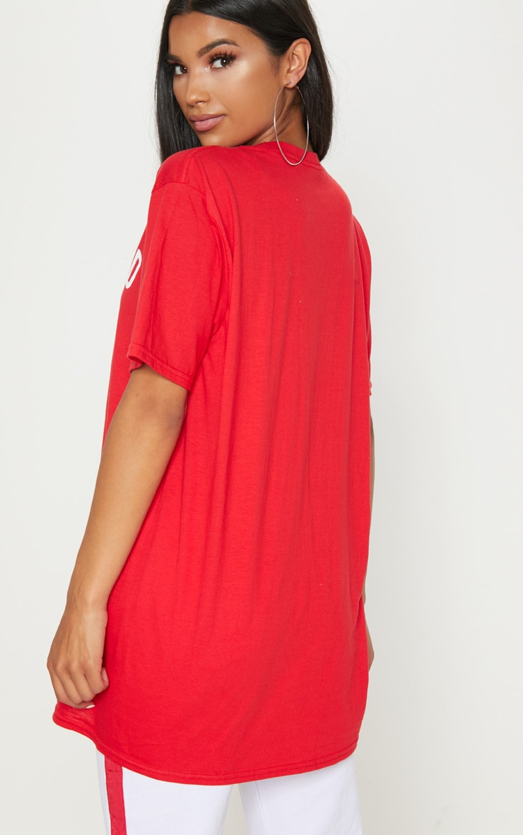 Red Hollywood Slogan Oversized T Shirt  2