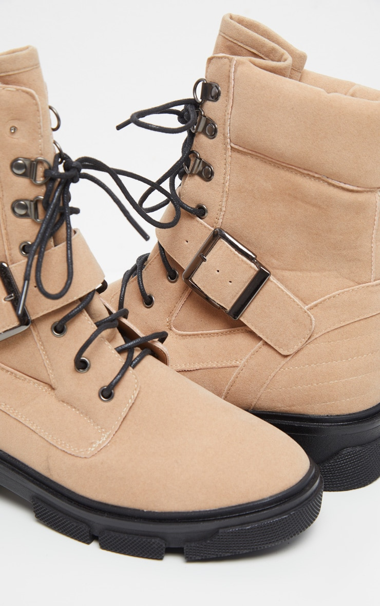 Sand Lace Up Buckle Strap Ankle Boot 4