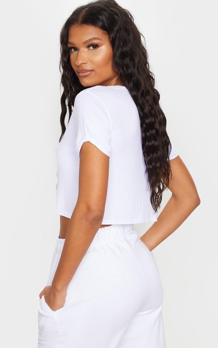 Basic Black & White 2 Pack Roll Sleeve Crop T Shirt  3