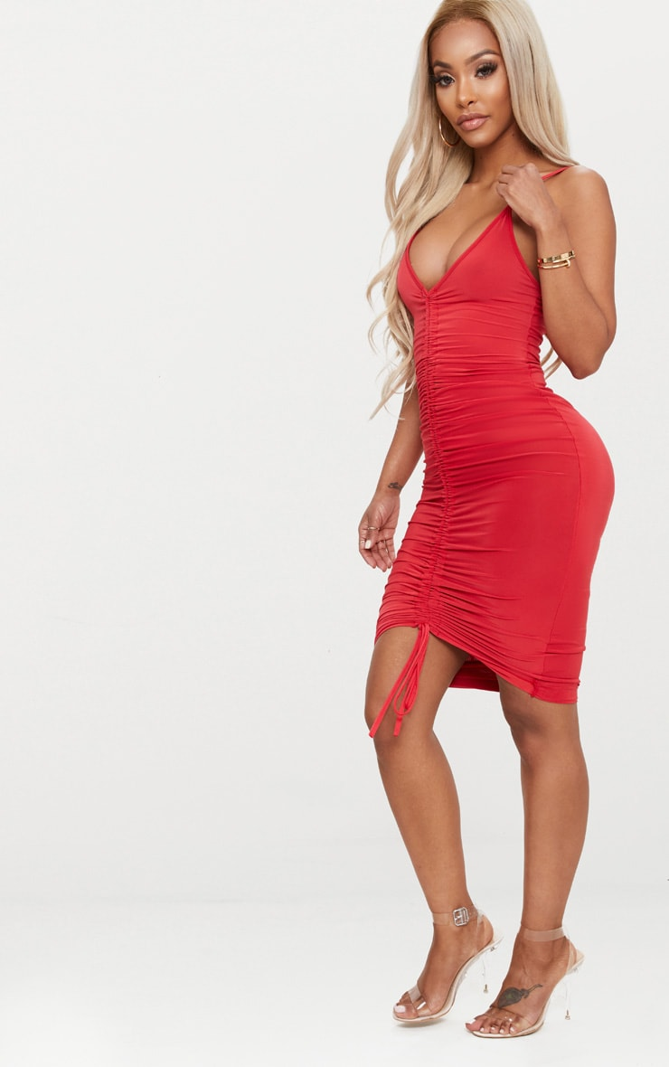 Shape Red Slinky Ruched Strappy Midi Dress 4