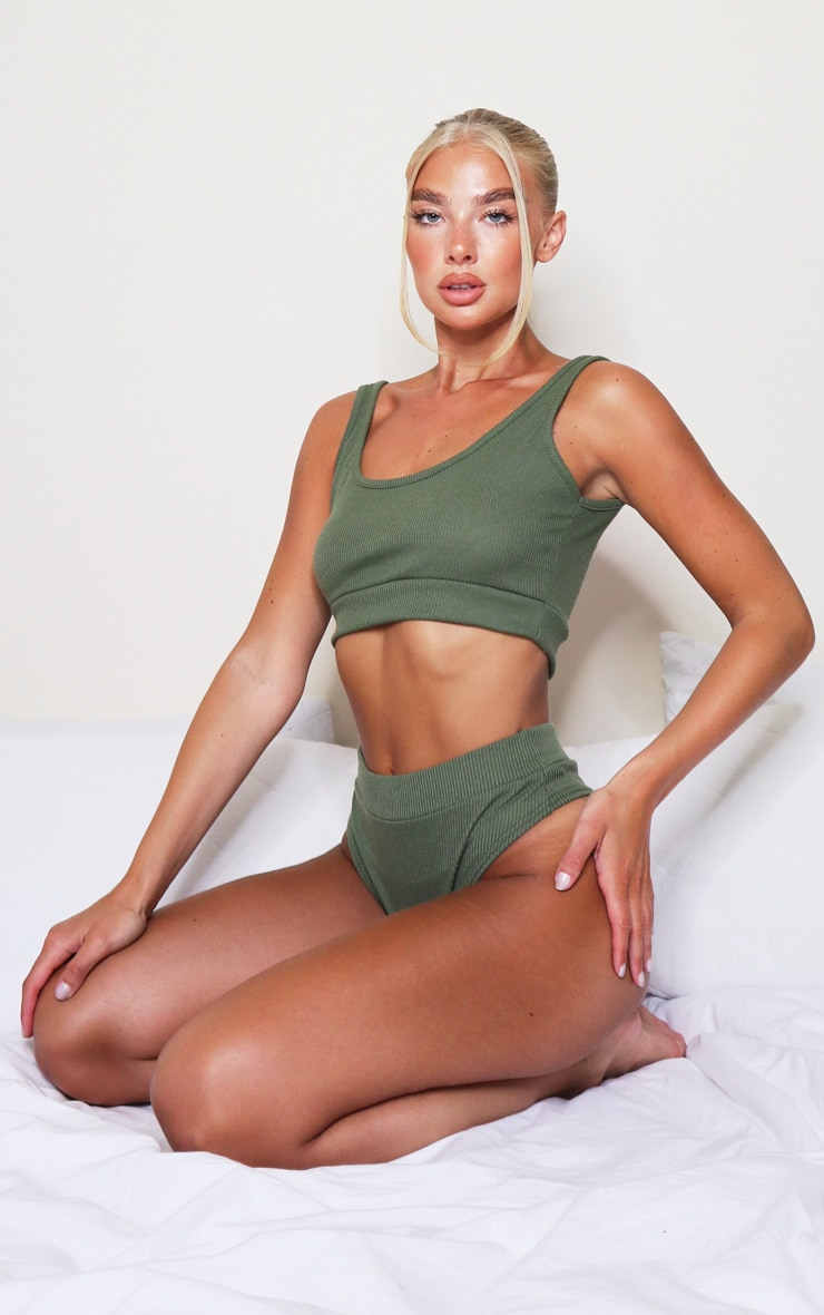 Khaki Soft Rib Scoop Bralette 3