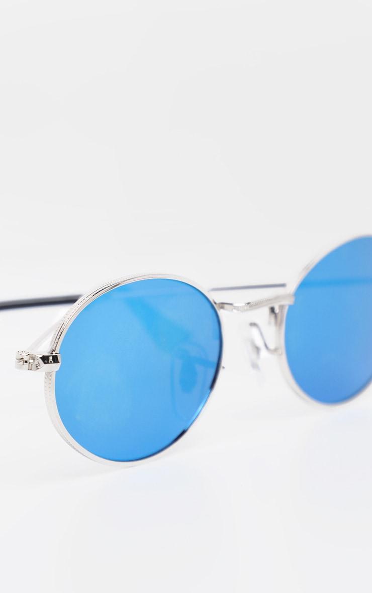 Blue Revo Metal Oval Sunglasses 4