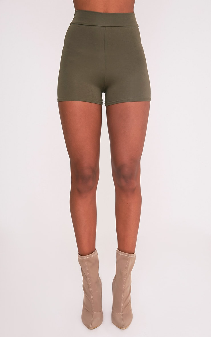 Basic Khaki High Waisted Shorts 2