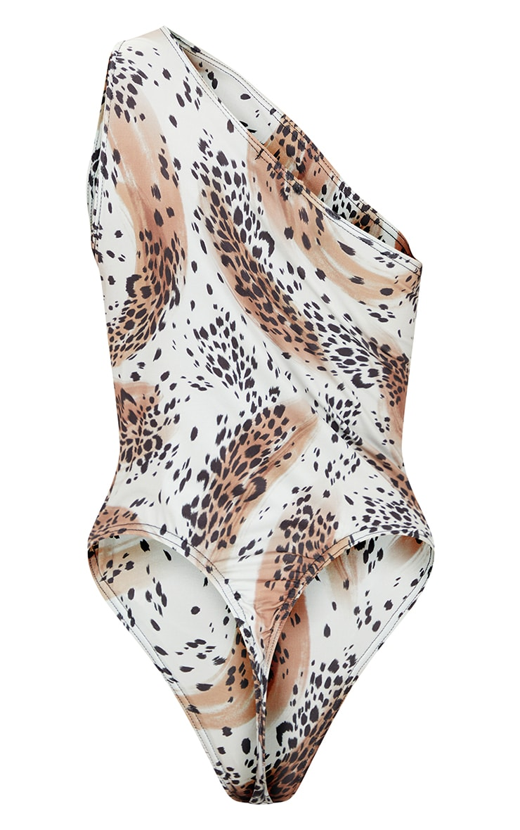 Nude Slinky Abstract Leopard Print One Shoulder Cut Out Bodysuit 6