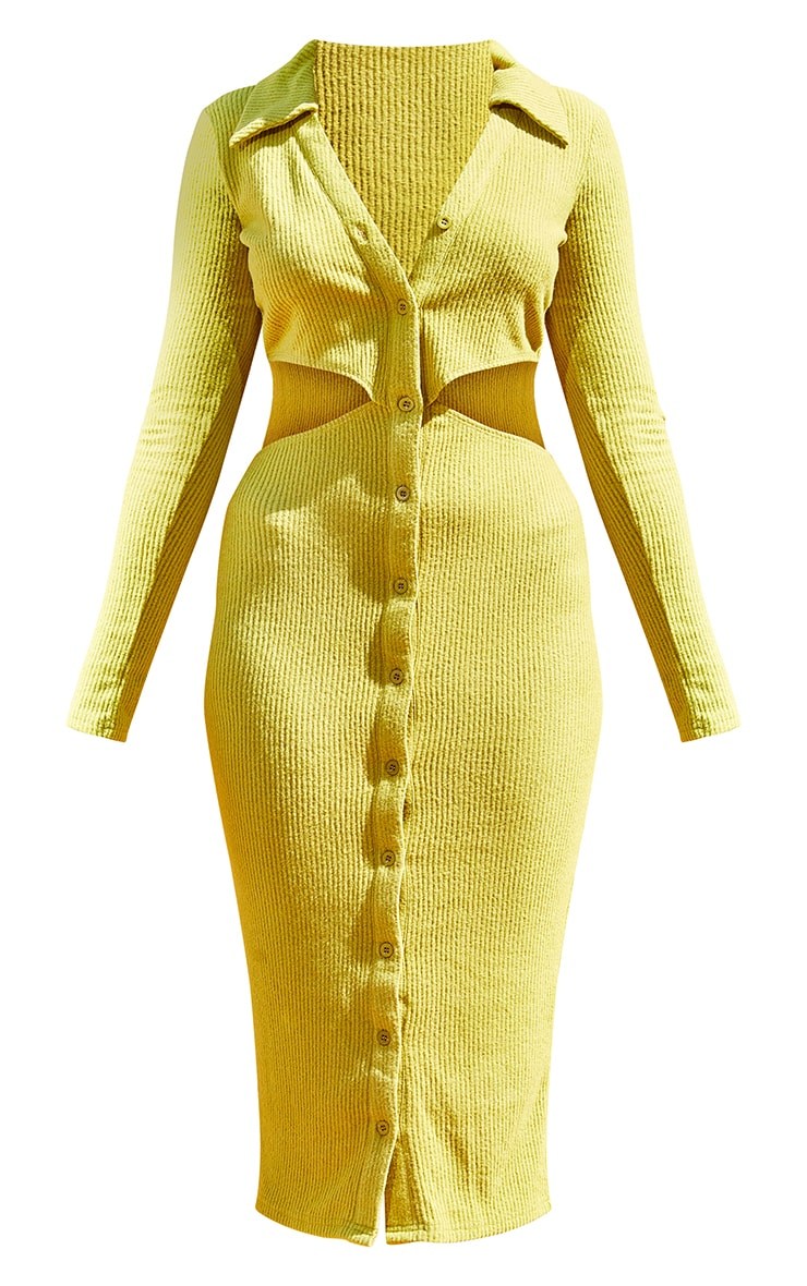 Olive Brushed Rib Cut Out Polo Collar Midaxi Dress 5