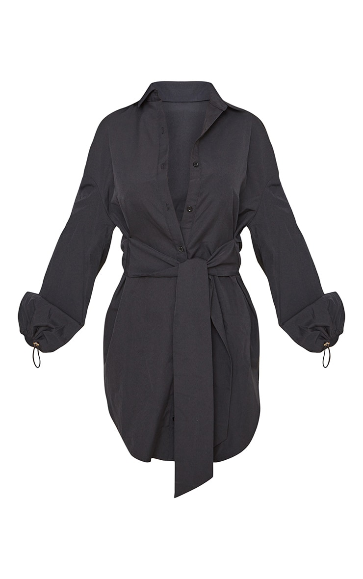 Black Tie Waist Elasticated Puff Cuff Shirt Dress 5