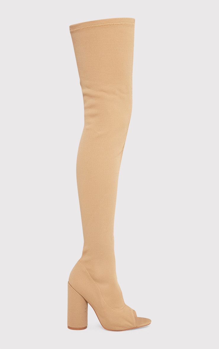 Beccy Stone Knitted Peep Toe Thigh Boots 2
