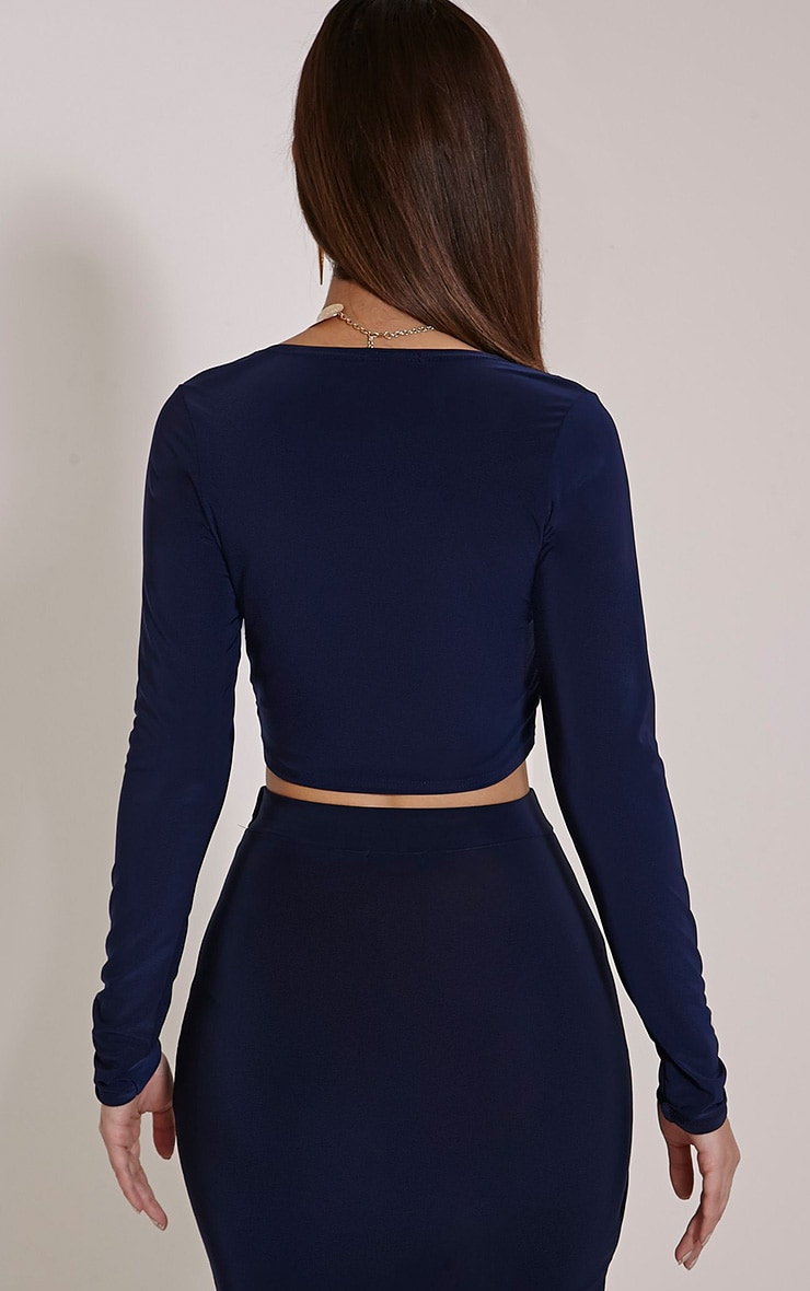 Ginevia Navy Wrap Front Slinky Crop Top  2