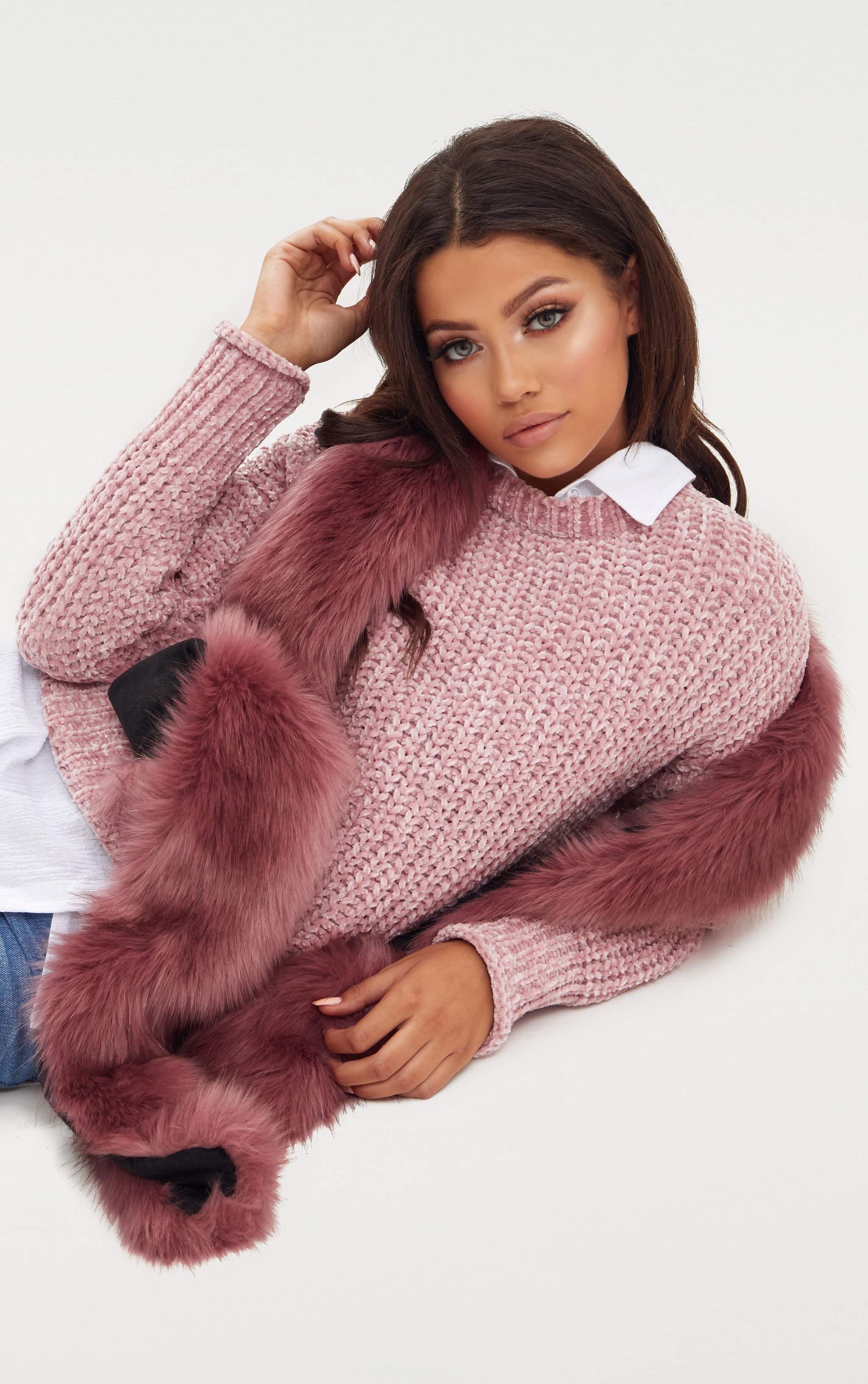 Pink Faux Fur Extra Long Scarf 3