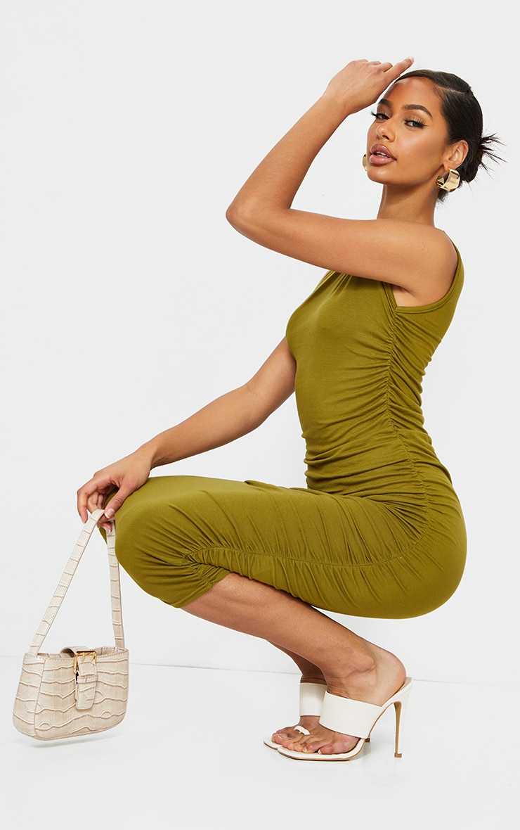 Olive Sleeveless Crew Neck Ruched Side Midi Dress 3