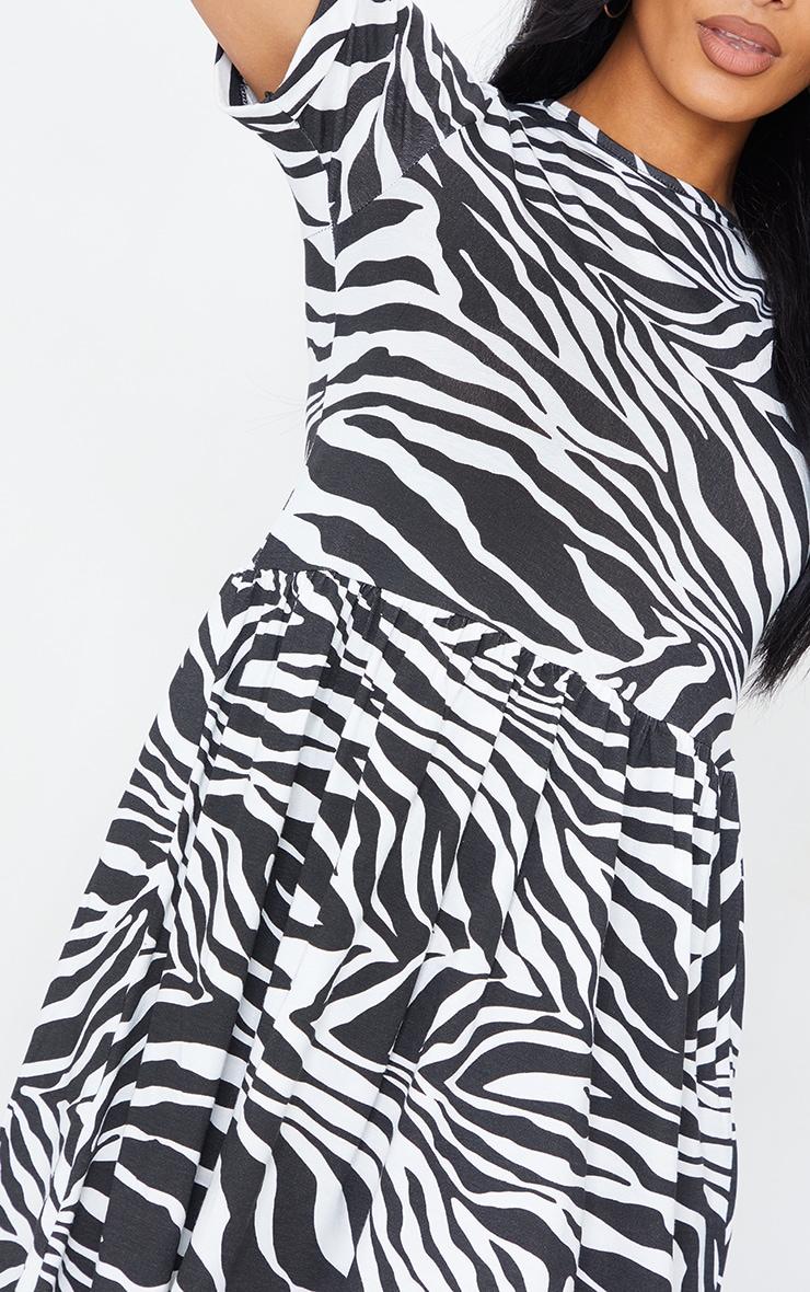 Black Zebra Print Short Sleeve Smock Dress 4