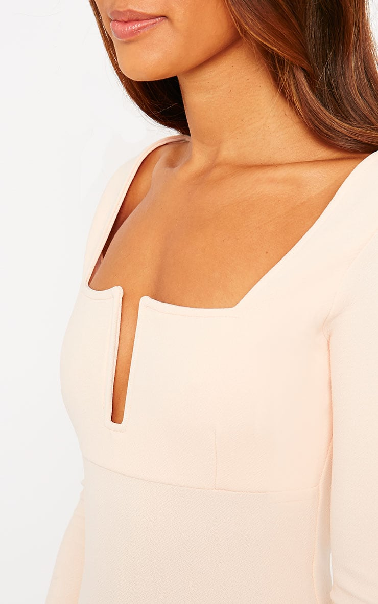 Roz Nude Plunge Mini Dress 5