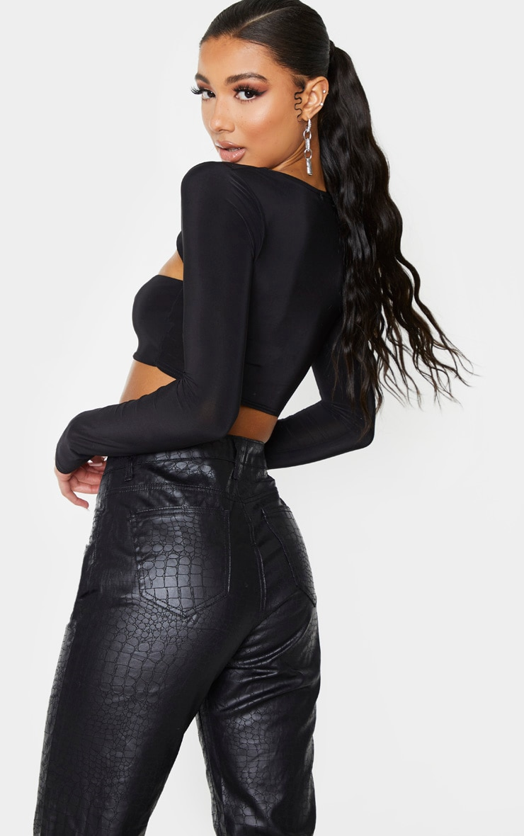 Black Slinky Front Cut Out Crop Top 2