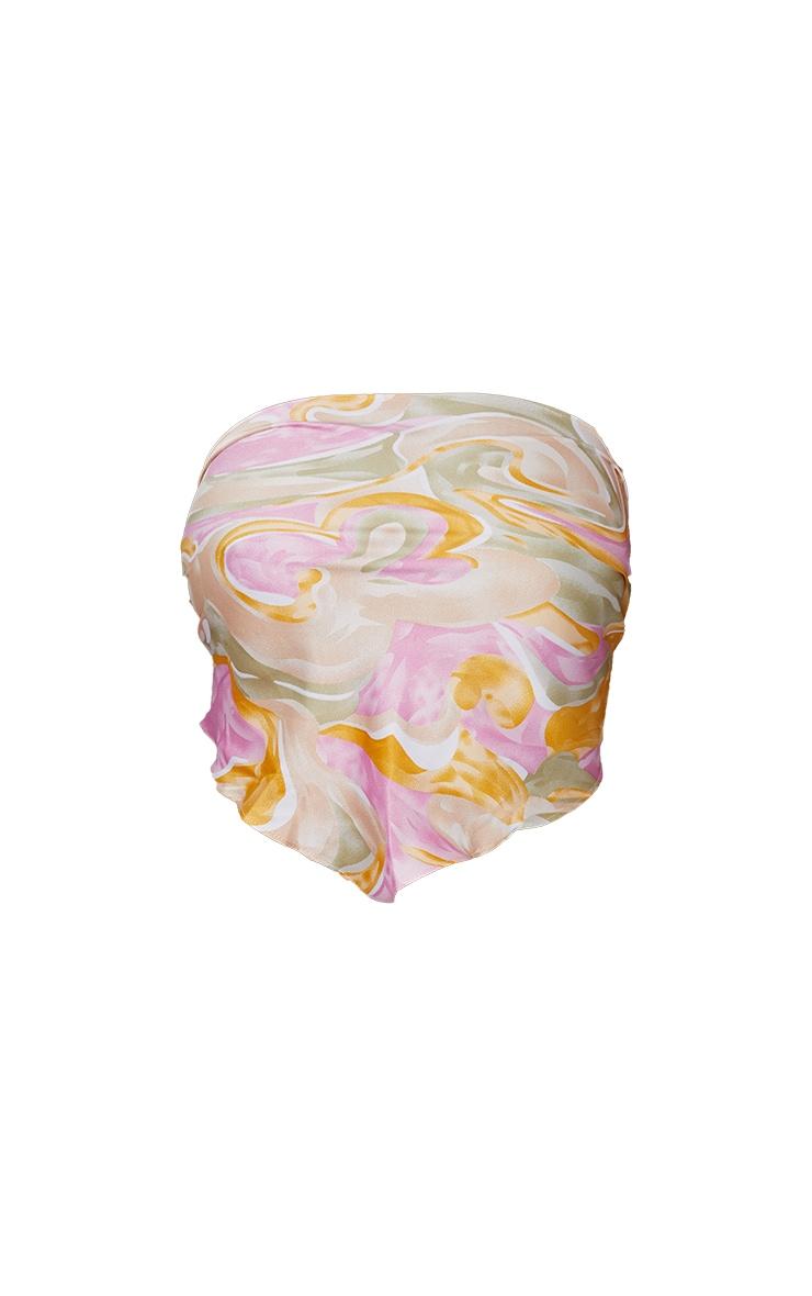 Pink Woven Printed Bandana Style Bandeau Top 5