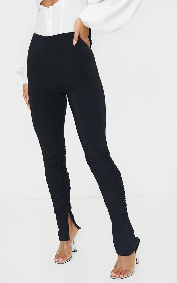 Black Slinky Ruched Leg Split Hem Skinny Pants 2