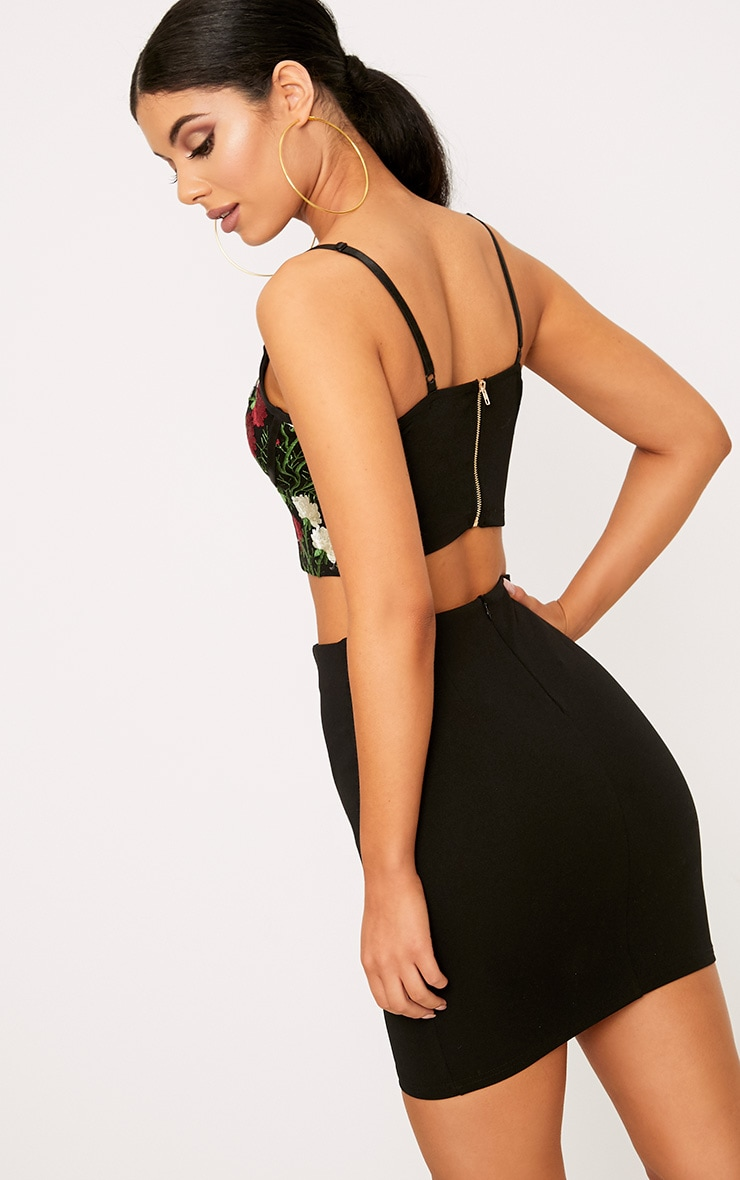 Remih Black Embroidered Corset Crop Top  2