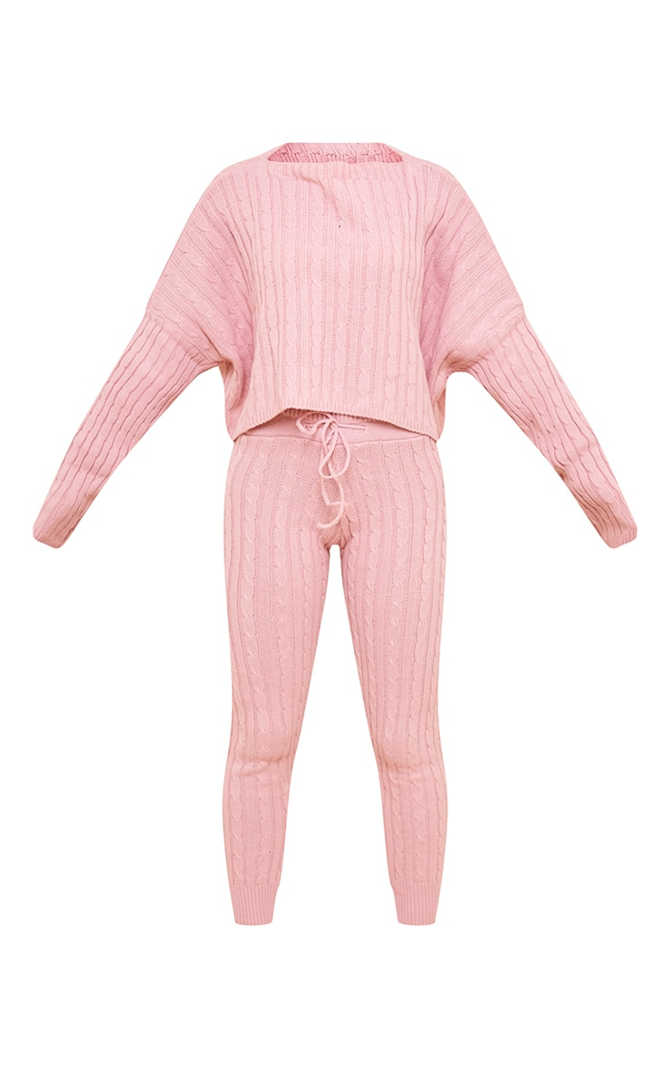 Dusty Pink Cable Knit Jumper & Legging Set 5