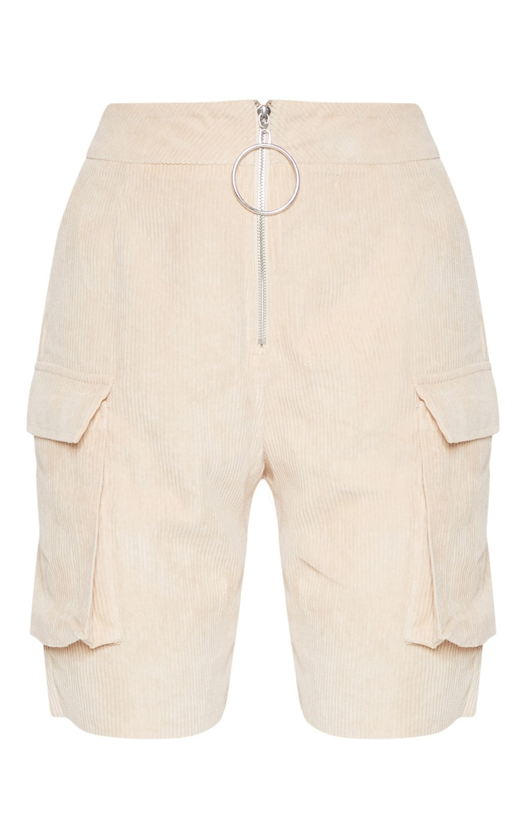 Cream Cord Boyfriend Fit Shorts 3