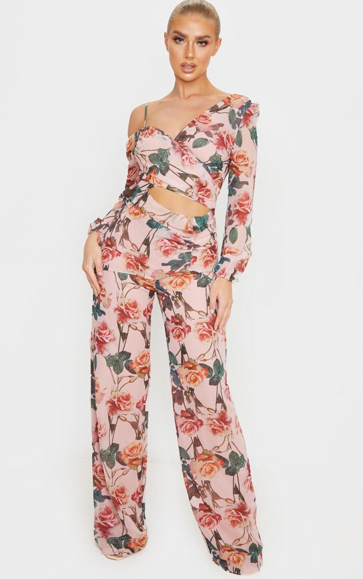 Pink Rose Print Chiffon Cut Out Jumpsuit 1
