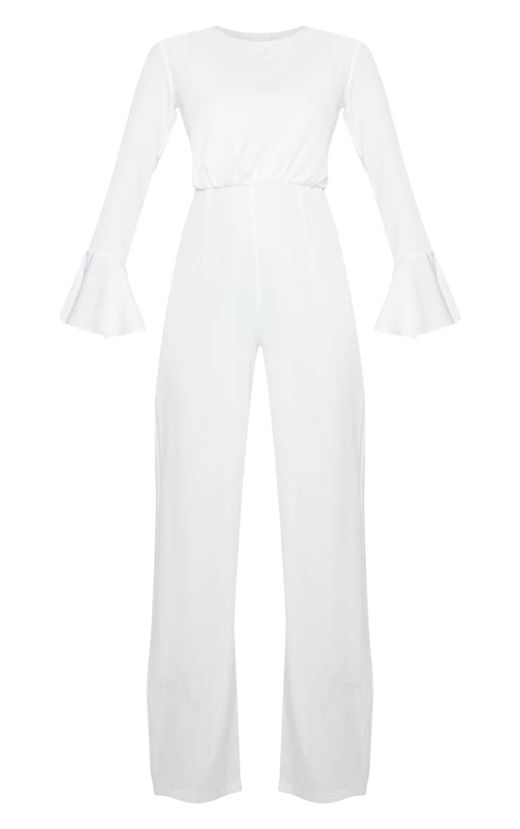 White Frill Sleeve Wide Leg Jumpsuit 5