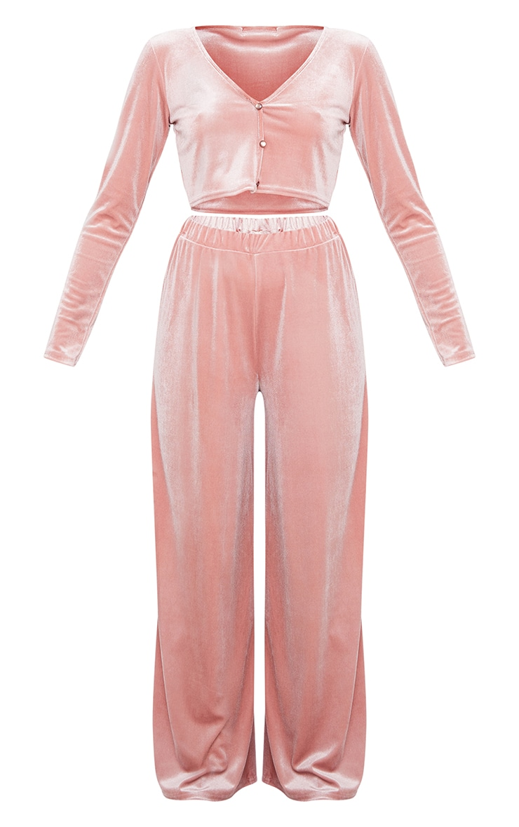Blush Velvet Crop Button Up Long Lounge Set 5