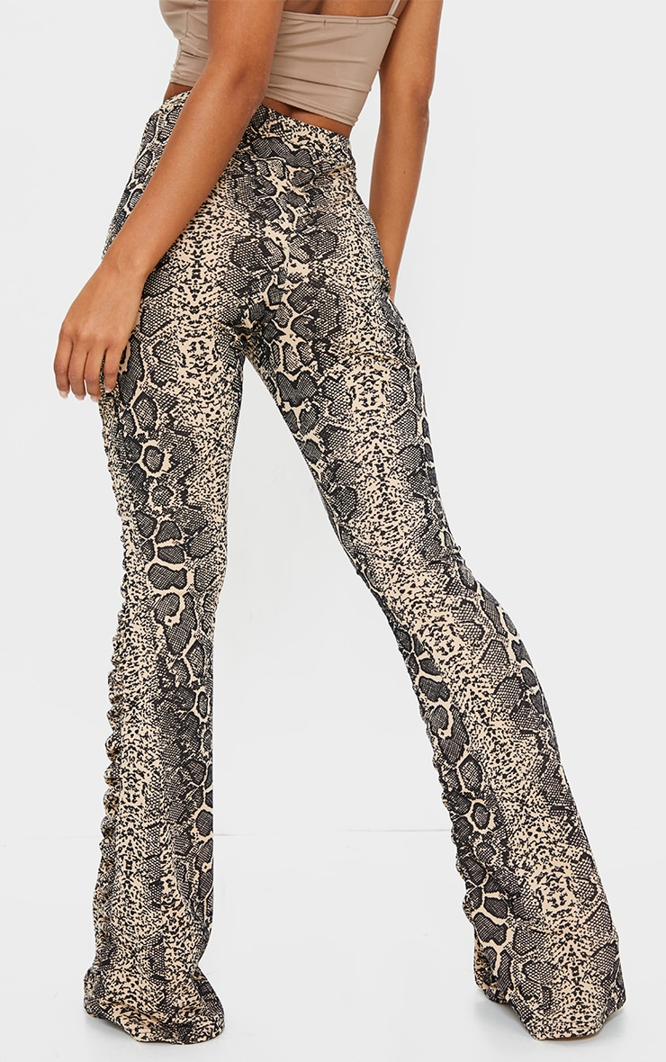 Stone Snake Print Ruched Panel Detail Flare Pants 3