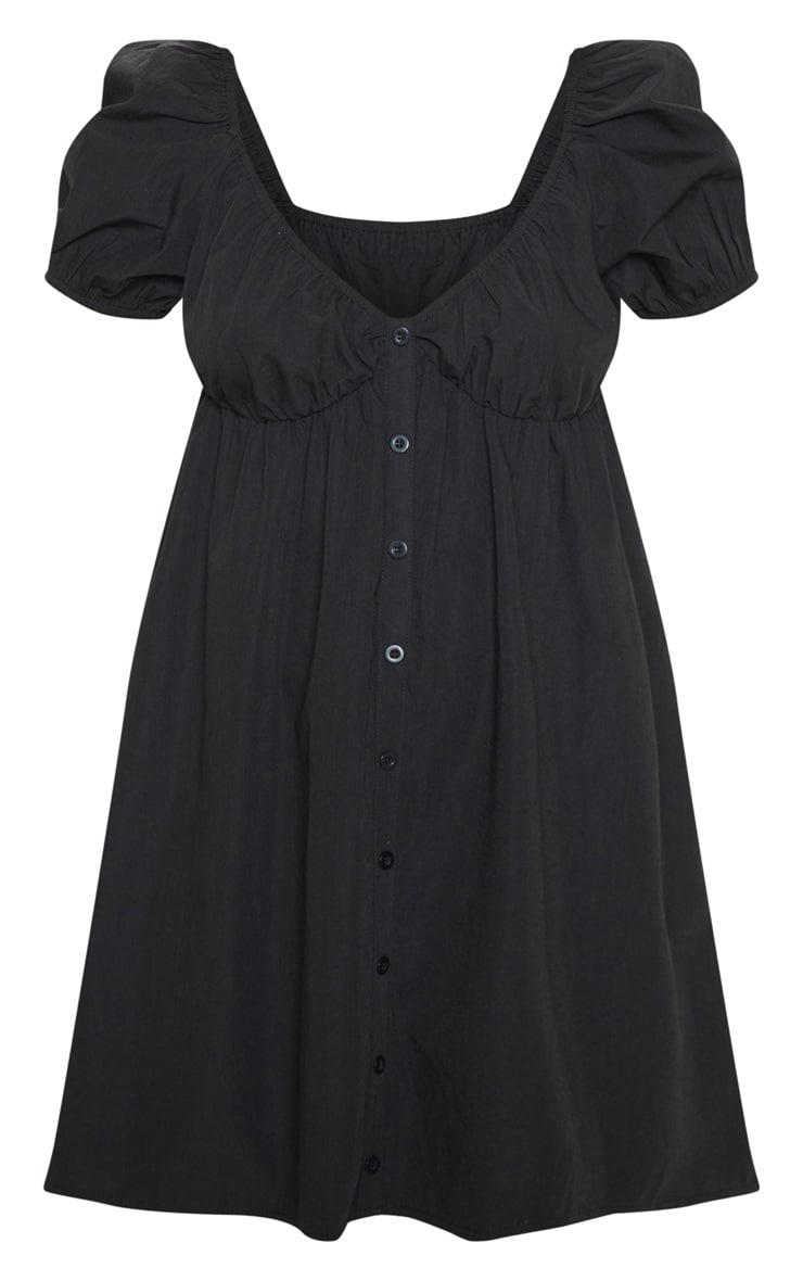 Black Button Through Ruched Shift Dress 3