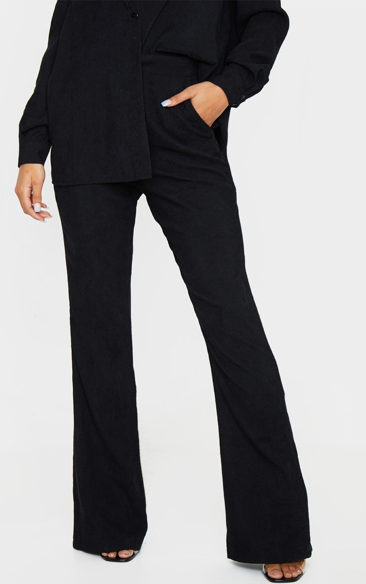 Black Cord High Waisted Wide Leg Trouser 2